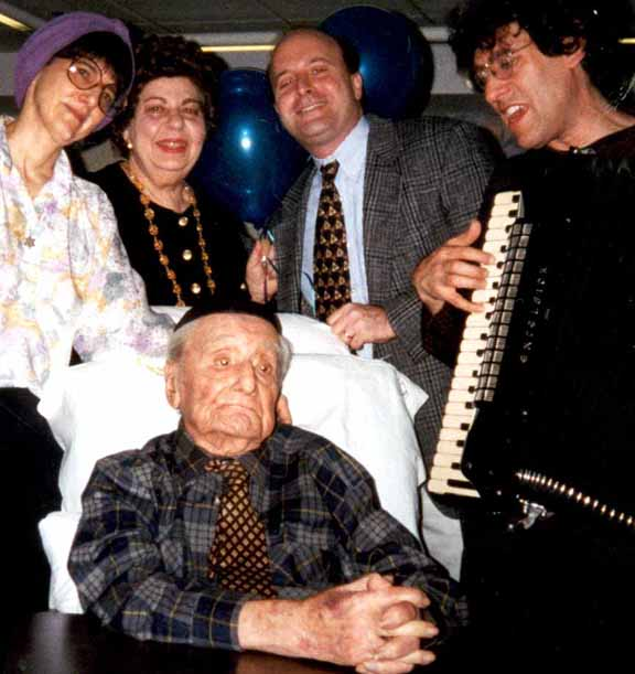 Picture: Ben Gailing's 100th Birthday Party, Hanukkah 1998. Behind Ben, left to right: Donna Halper, Edith Perry, Mark David, Hankus Netsky